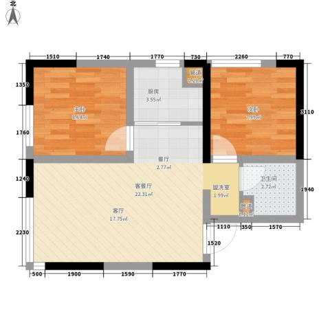 郡原小石城2室1厅1卫1厨56.00㎡户型图