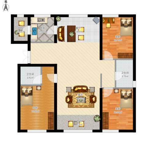 金昌国际3室1厅2卫1厨133.00㎡户型图