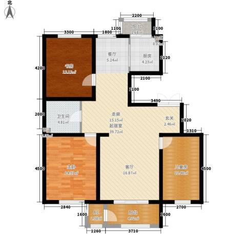 明华西江俪园3室0厅1卫1厨129.00㎡户型图
