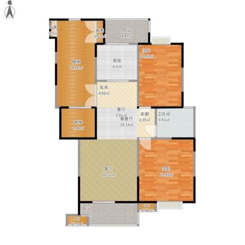 鸿雁名居2室1厅1卫1厨134.00㎡户型图