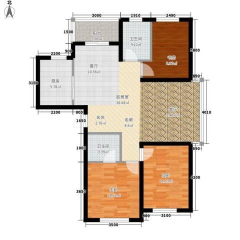 城市之星3室0厅2卫1厨119.00㎡户型图