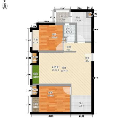 吉祥里2室0厅1卫1厨60.00㎡户型图