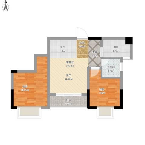 攀华未来城2室1厅1卫1厨70.00㎡户型图