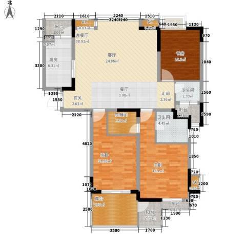 奥体新城丹枫园3室1厅2卫1厨161.00㎡户型图