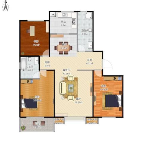 盛和嘉园3室1厅2卫1厨171.00㎡户型图
