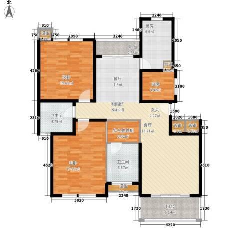 浅水湾恺悦名城2室1厅2卫1厨120.00㎡户型图