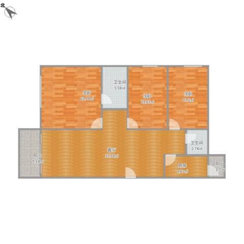 景华楼3室1厅2卫1厨110.78㎡户型图