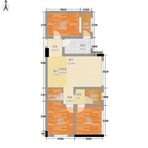 阅彩・彩世界3室0厅1卫1厨66.00㎡户型图
