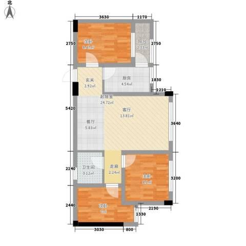 阅彩・彩世界3室0厅1卫1厨58.28㎡户型图