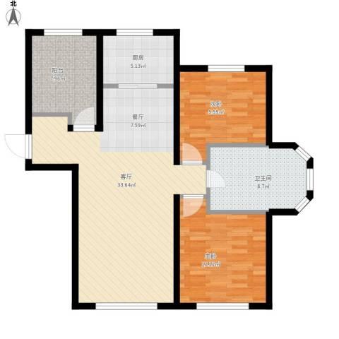 金泰丽舍2室1厅1卫1厨110.00㎡户型图