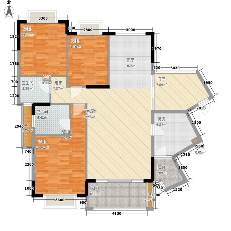 龙光普罗旺斯127.55㎡斯紫罗兰庄园13号楼3单元065单元053户型3室2厅