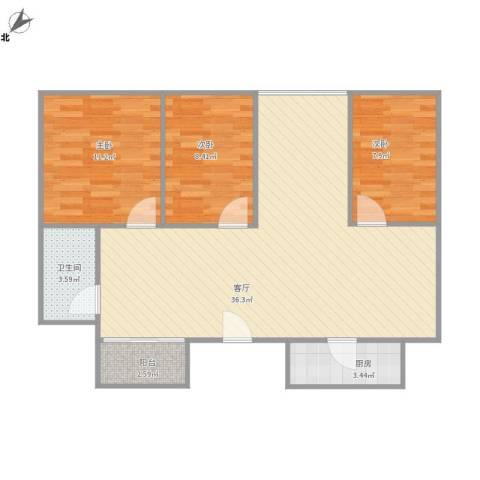 五米阳光3室1厅1卫1厨99.00㎡户型图