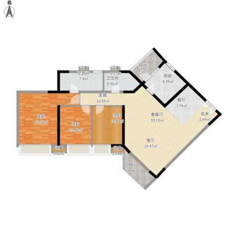 锦城花园3室1厅2卫1厨181.00㎡户型图