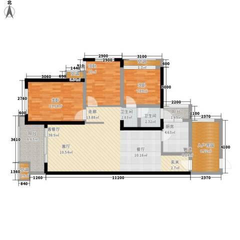 彰泰峰誉3室1厅1卫1厨110.46㎡户型图