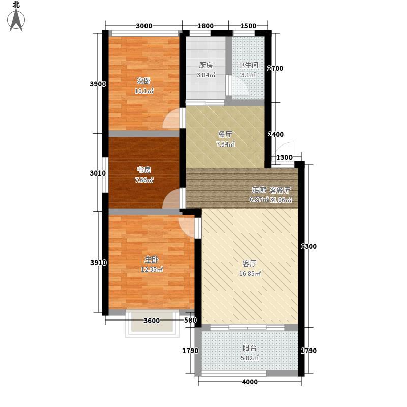 欣积・福湾3.00㎡3、4栋户型3室2厅1卫1厨