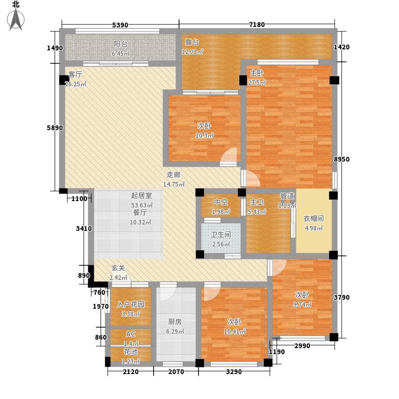 中国铁建江湾山语城145.30㎡2#平层花园洋房户型4室2厅2卫1厨
