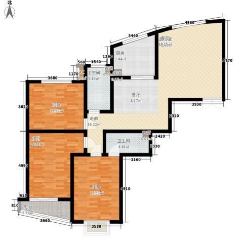 都市绿洲3室0厅2卫1厨124.00㎡户型图