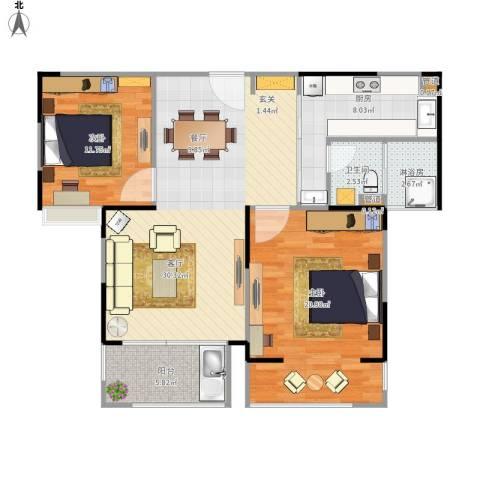 虹桥宝龙城2室1厅1卫1厨111.00㎡户型图