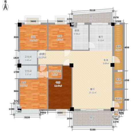 锦绣东方4室1厅2卫1厨140.86㎡户型图