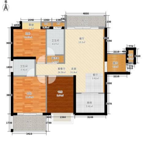 鑫汇苑小区3室1厅2卫1厨106.00㎡户型图