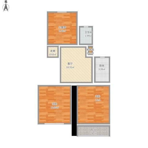 羽山路1000弄小区3室1厅1卫1厨72.00㎡户型图