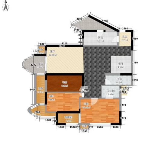 天工太阳岛3室1厅2卫1厨106.00㎡户型图