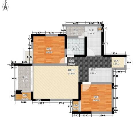 天工太阳岛2室1厅1卫1厨78.00㎡户型图