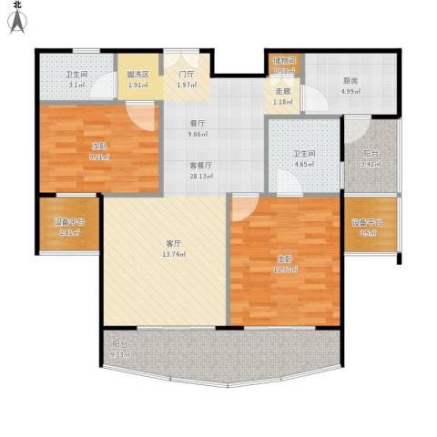 静安丽舍二期2室1厅2卫1厨111.00㎡户型图