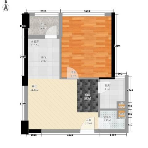 万顺家园1室1厅1卫1厨62.00㎡户型图