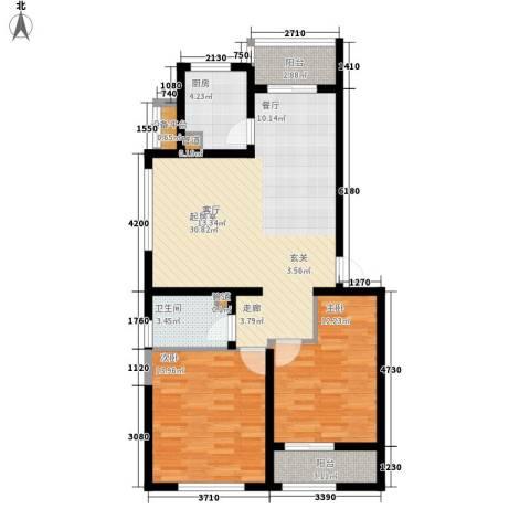 新天地公寓2室0厅1卫1厨82.76㎡户型图