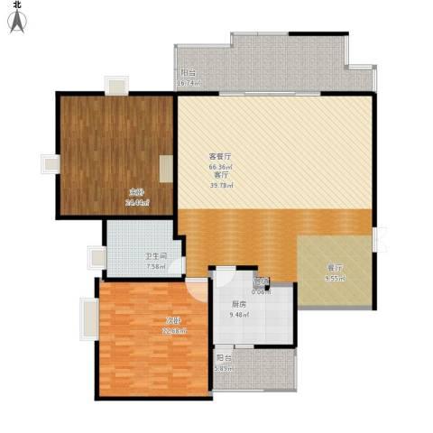 大川水岸菲尔小城2室1厅1卫1厨206.00㎡户型图