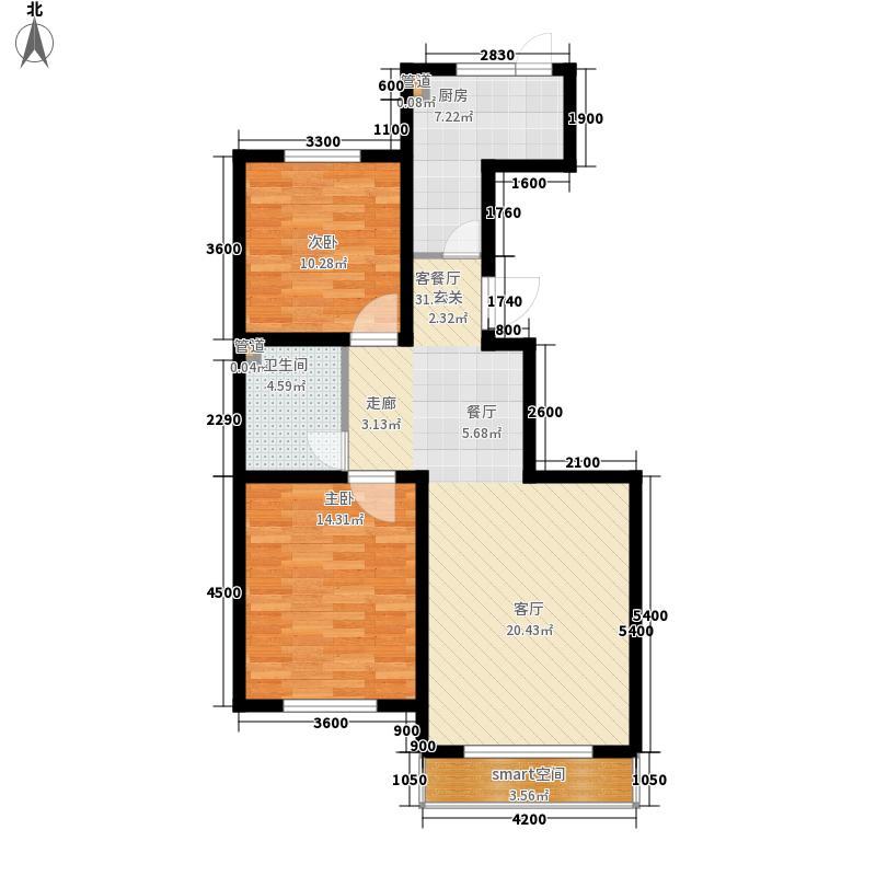 千翔尚城13.00㎡高层5#标准层L户型2室2厅1卫1厨