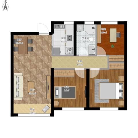 大连港天下粮仓3室1厅1卫1厨88.00㎡户型图
