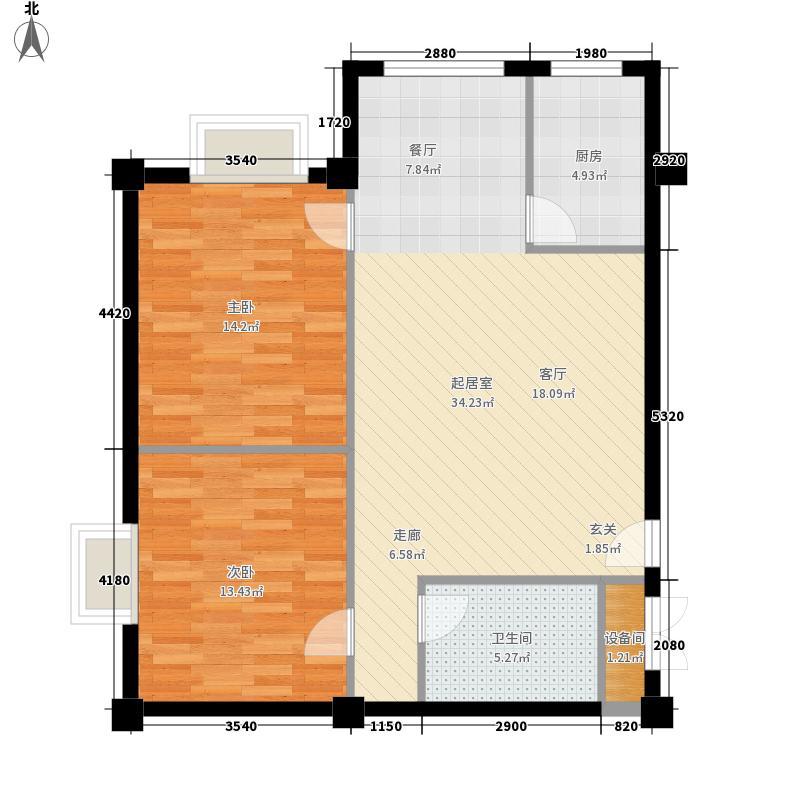 金泽嘉园80.66㎡D户型2室2厅1卫1厨