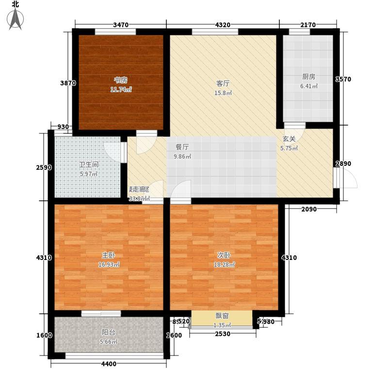 海润尚东国际113.70㎡一期高层E-3户型3室2厅1卫1厨