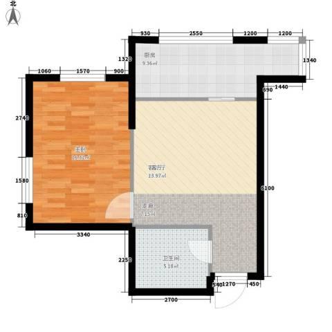 和平丽苑1室1厅1卫1厨62.00㎡户型图