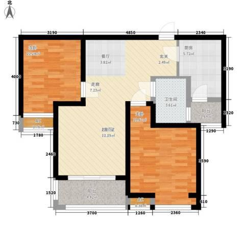 长江丰泽园2室0厅1卫1厨87.00㎡户型图