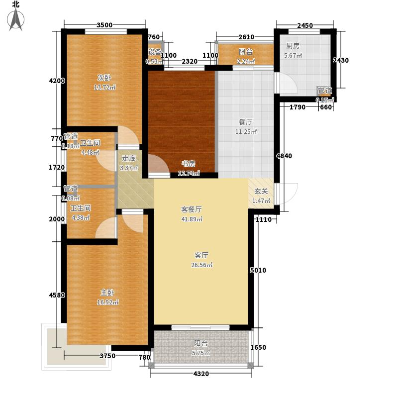 尚东金汇124.36㎡A户型3室2厅