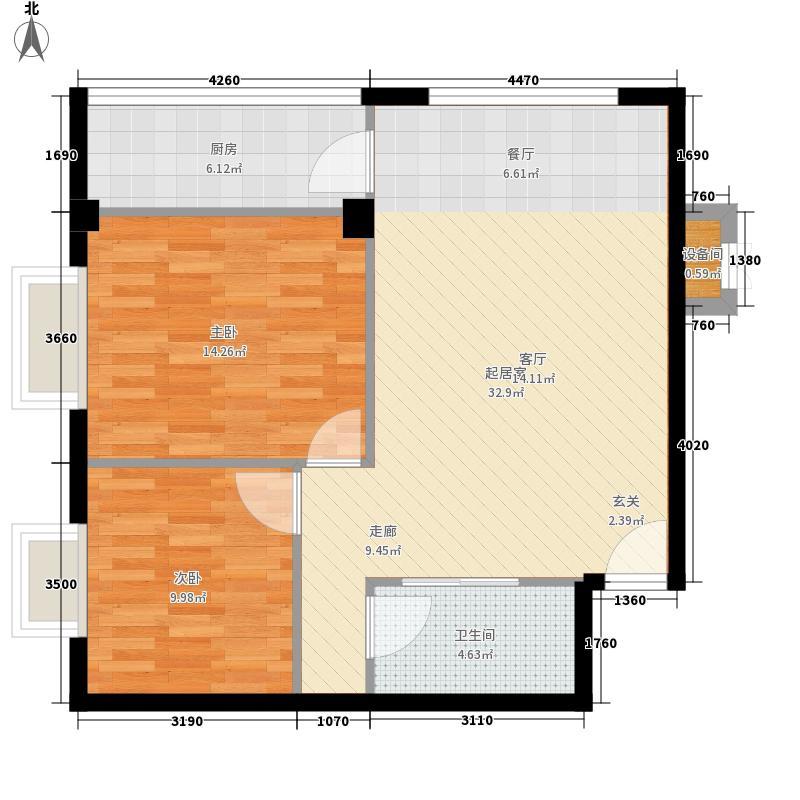 金泽嘉园75.88㎡H户型2室2厅1卫1厨