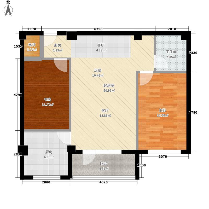 金泽嘉园81.46㎡F户型2室2厅1卫1厨