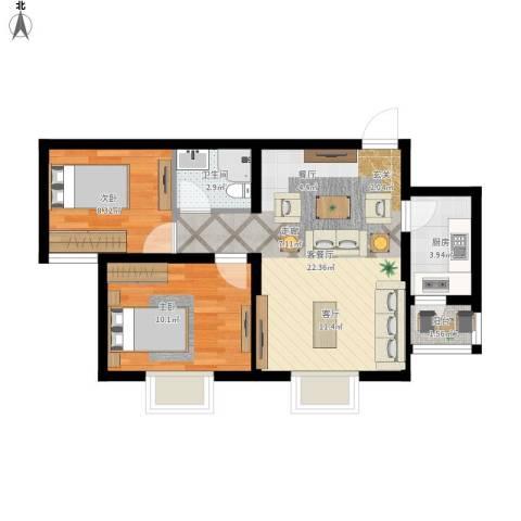 攀华未来城2室1厅1卫1厨71.00㎡户型图