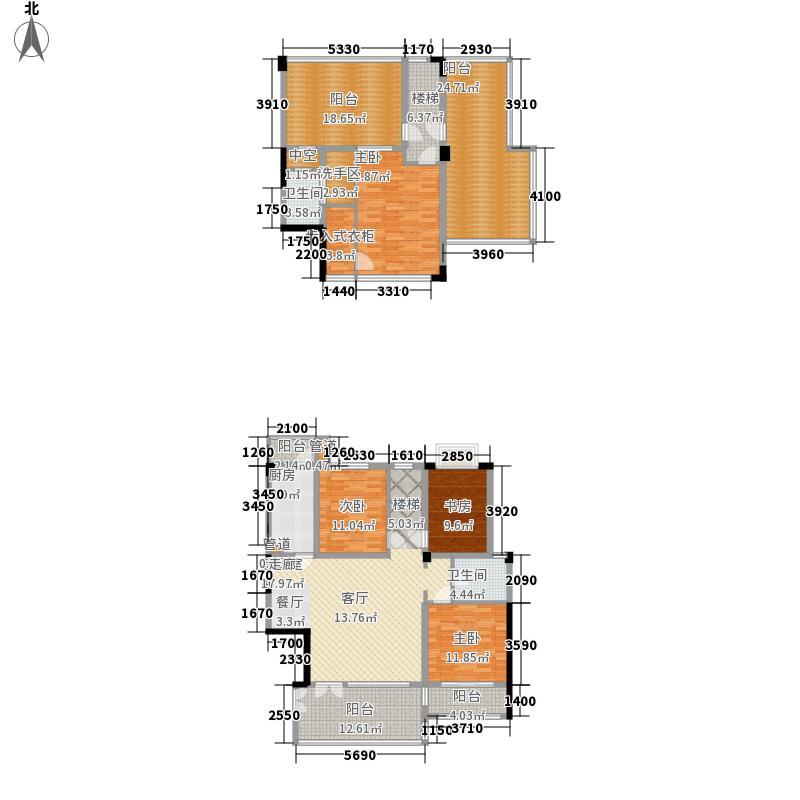 诺丁山163.00㎡诺丁山户型图B6型跃层4室2厅2卫1厨户型4室2厅2卫1厨