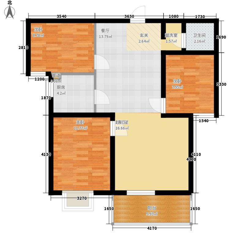 永恒华府114.00㎡二期高层14#楼J2户型3室2厅1卫1厨
