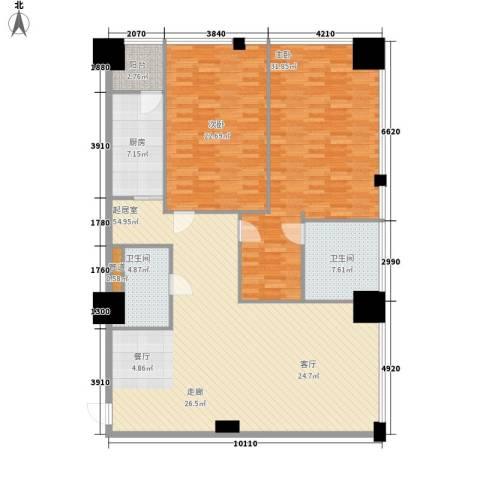 时代国际2室0厅2卫1厨147.00㎡户型图