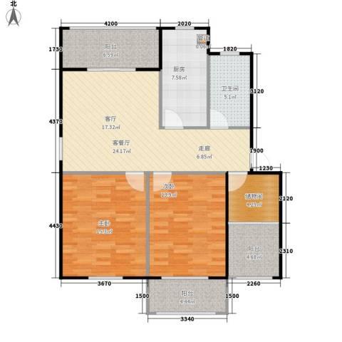 越通美院2室1厅1卫1厨116.00㎡户型图