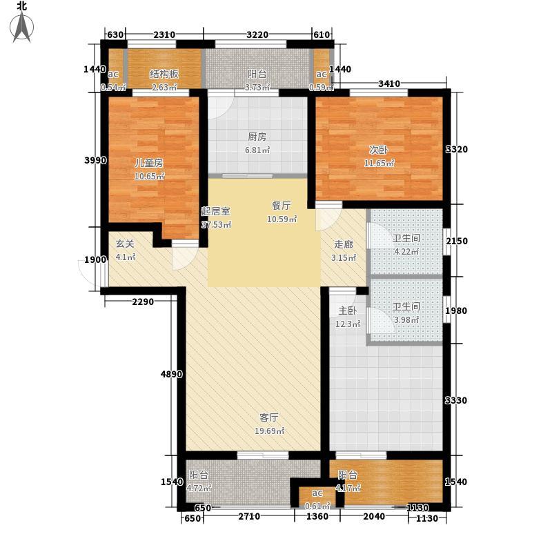 长九中心公园9号127.00㎡17#D奇数层户型3室2厅