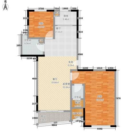 新天地公寓2室0厅2卫1厨143.96㎡户型图
