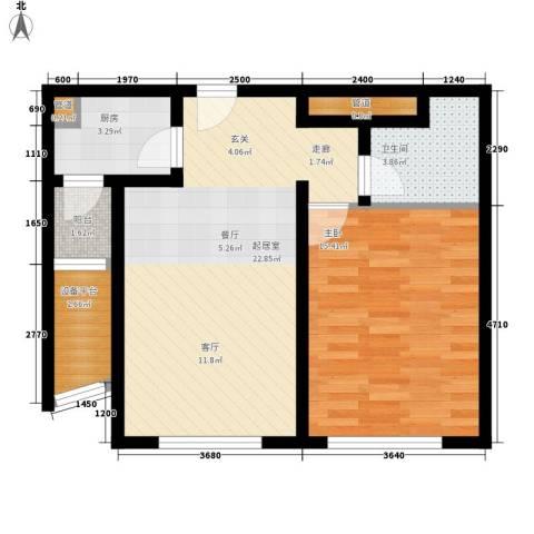 新天地公寓1室0厅1卫1厨59.57㎡户型图
