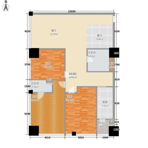 时代国际3室0厅2卫1厨148.00㎡户型图