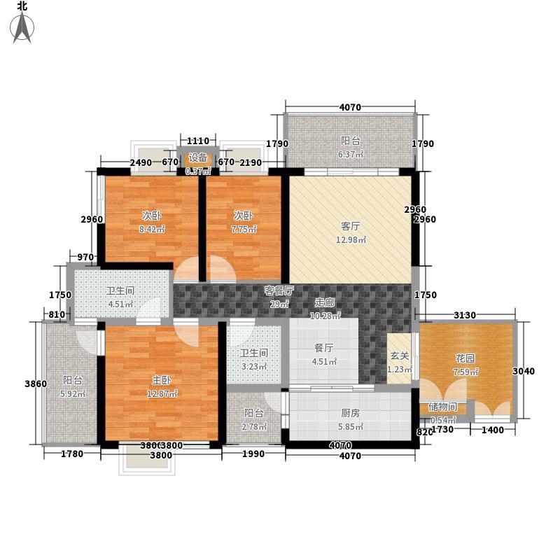 锦都118.42㎡锦都户型图A3型3室2厅2卫1厨户型3室2厅2卫1厨